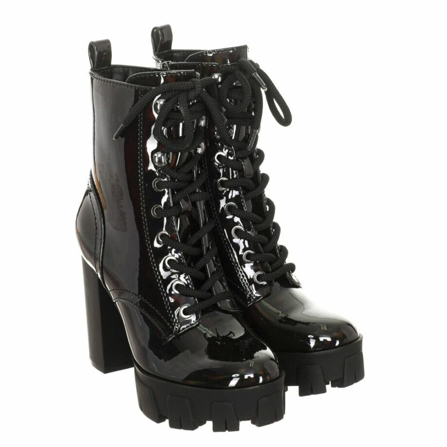 SELONCE GUESS WOMEN PATENT HEEL ANKLE BOOTS FL8NEEELE10-BLACK