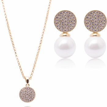SELONCE ANNIE ROSEWOOD necklace & earrings Gold JSET013
