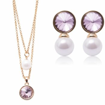 SELONCE ANNIE ROSEWOOD necklace & earrings Gold JSET015