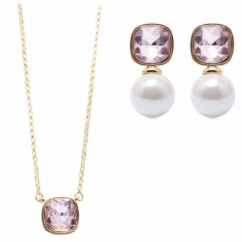SELONCE ANNIE ROSEWOOD necklace & earrings Gold JSET017
