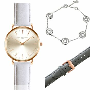 SELONCE ANNIE ROSEWOOD Set of Watch & Extra Strap & Bracelet Rose gold  WSET001