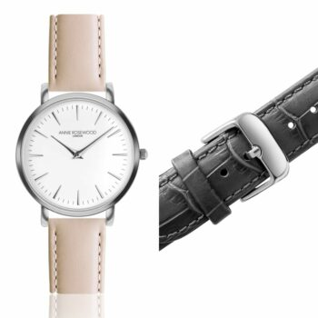 SELONCE ANNIE ROSEWOOD Set of Watch & Extra Strap Silver WSET002