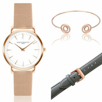 SELONCE ANNIE ROSEWOOD Set of Watch & Extra Strap & Bracelet Rose gold  WSET004