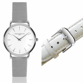 SELONCE ANNIE ROSEWOOD Set of Watch & Extra Strap Silver WSET005