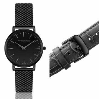 SELONCE ANNIE ROSEWOOD Set of Watch & Extra Strap Midnight Black  WSET006