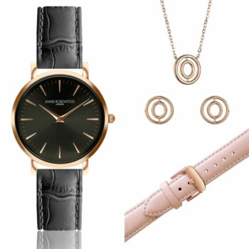 SELONCE ANNIE ROSEWOOD Set of Watch & Extra Strap & Earrings & Neklace Rose gold  WSET007