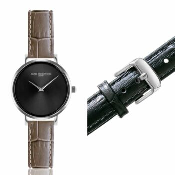 SELONCE ANNIE ROSEWOOD Set of Watch & Extra Strap Silver WSET011