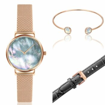 SELONCE ANNIE ROSEWOOD Set of Watch & Extra Strap & Bracelet Rose gold  WSET012