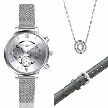 SELONCE ANNIE ROSEWOOD Set of Watch & Extra Strap & Neklace Silver WSET014