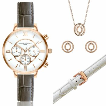 SELONCE ANNIE ROSEWOOD Set of Watch & Extra Strap & Earrings & Neklace Rose gold  WSET020